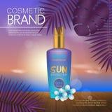 Modello cosmetico di estate sulla spiaggia di tramonto con il fondo esotico delle foglie di palma Progettazione realistica 3D Fotografia Stock Libera da Diritti