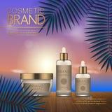 Modello cosmetico di estate sulla spiaggia di tramonto con il fondo esotico delle foglie di palma Progettazione realistica 3D illustrazione vettoriale