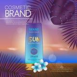 Modello cosmetico di estate sulla spiaggia di tramonto con il fondo esotico delle foglie di palma Progettazione realistica 3D royalty illustrazione gratis