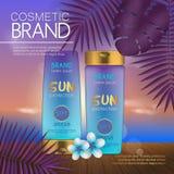 Modello cosmetico di estate sulla spiaggia di tramonto con il fondo esotico delle foglie di palma Progettazione realistica 3D illustrazione di stock