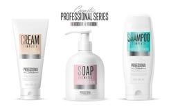 Modello cosmetico di marca Insieme realistico della bottiglia Fotografia Stock Libera da Diritti