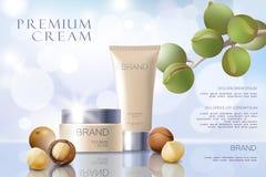Modello cosmetico realistico dell'annuncio dell'olio di noce di macadamia 3d Capelli d'argento bianchi del fronte del siero del m illustrazione vettoriale