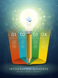 Modello creativo con terra in matita della lampadina infographic Fotografie Stock Libere da Diritti