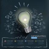 Modello creativo di infographics con la lampadina illustrazione vettoriale