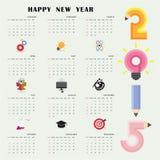 Modello creativo di progettazione del calendario 2015 con l'affare o il educatio Fotografia Stock Libera da Diritti