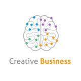 Modello creativo di progettazione di logo di vettore del cervello Fotografia Stock