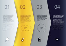 Modello creativo di vettore - quattro frecce nei colori differenti con illustrazione vettoriale