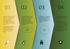Modello creativo di vettore - quattro frecce nei colori differenti con Fotografia Stock Libera da Diritti