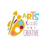Modello creativo Logo With Palette And Paintbrush promozionale, simboli della classe dei bambini di arte e di creatività Fotografia Stock