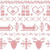 Modello cucito senza cuciture nordico di natale con la slitta, la renna, i fiocchi di neve e le stelle di Santa Fotografia Stock