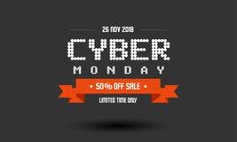 Modello cyber di progettazione dell'etichetta di vendita di lunedì immagine stock libera da diritti