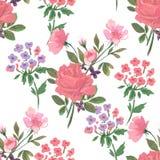 Modello d'annata con i fiori, le rose e l'ortensia Immagini Stock