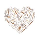 Modello d'annata del fondo con le carote delle verdure di forma del cuore Posta quadrata per i media sociali illustrazione di stock