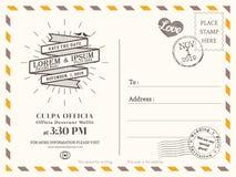 Modello d'annata del fondo della cartolina per l'invito di nozze Fotografie Stock Libere da Diritti