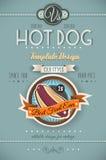 Modello d'annata del manifesto del HOT DOG per i bistrot Immagini Stock Libere da Diritti