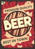 Modello d'annata del manifesto per birra fredda Immagini Stock