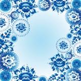 Modello d'annata dell'ornamento con i fiori e le foglie blu Vettore Immagine Stock