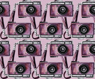 Modello d'annata della macchina fotografica dell'acquerello Immagini Stock Libere da Diritti