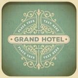 Modello d'annata di logo, hotel, ristorante, affare o boutique I Fotografia Stock