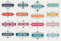 Modello d'annata di logo, hotel, ristorante, insieme di identità di affari Fotografia Stock Libera da Diritti