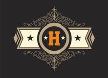 Modello d'annata di logo, hotel, ristorante, insieme di identità di affari Fotografia Stock