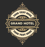 Modello d'annata di logo, hotel, ristorante, insieme di identità di affari Fotografie Stock