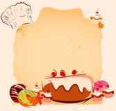 Modello d'annata di ricetta dei dolci Fotografia Stock