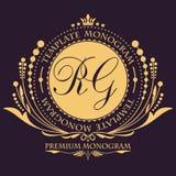 Modello d'annata floreale elegante di progettazione del monogramma per una o due lettera Ornamento elegante calligrafico Segno di illustrazione di stock