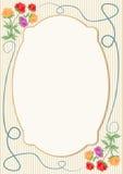 Modello d'annata per l'annuncio, invito, aletta di filatoio, manifesto con il motivo floreale tenero morbido Immagine Stock