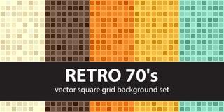 Modello d'annata quadrato retro 70s stabilito Backg senza cuciture delle mattonelle di vettore Fotografie Stock