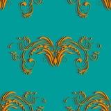 Modello d'annata senza cuciture arancio con l'ornamento astratto degli elementi floreali sul colore del fondo di un'onda del mare Immagine Stock