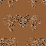 Modello d'annata senza cuciture con gli elementi dell'ornamento floreale astratto nei toni marroni Immagini Stock