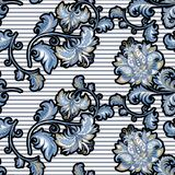 Modello d'annata senza cuciture con i fiori blu decorativi fotografia stock libera da diritti
