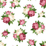 Modello d'annata senza cuciture con le rose rosa e bianche Illustrazione di vettore Immagine Stock