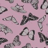 Modello d'annata senza cuciture della farfalla Fotografie Stock Libere da Diritti