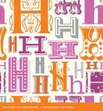 Modello d'annata senza cuciture della lettera h nei retro colori Fotografia Stock Libera da Diritti