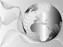 Modello d'argento del biglietto da visita del globo della terra illustrazione di stock
