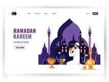 Modello d'atterraggio bianco della pagina del mese santo della preghiera, celebrazione di Ramadan Kareem Uomo musulmano nella let illustrazione vettoriale
