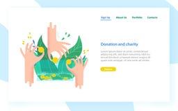 Modello d'atterraggio della pagina con le mani che tengono le monete e le fatture e metterle nel salvadanaio Progetto di carità,  illustrazione vettoriale