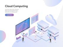 Modello d'atterraggio della pagina del concetto isometrico dell'illustrazione di Cloud Computing Concetto di progetto piano moder royalty illustrazione gratis