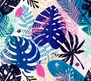 Modello d'avanguardia senza cuciture con le foglie di palma variopinte su un fondo bianco Illustrazione botanica di vettore Fotografia Stock Libera da Diritti
