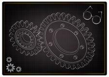 modello 3d degli ingranaggi sul nero royalty illustrazione gratis