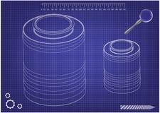 modello 3d del barilotto su un blu illustrazione di stock