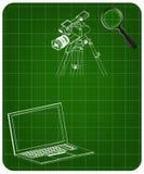 modello 3d del computer portatile e della videocamera portatile con un treppiede royalty illustrazione gratis
