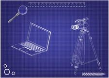 modello 3d del computer portatile e della videocamera portatile con un treppiede illustrazione di stock