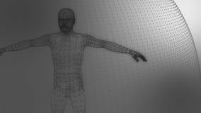 modello 3d del modello geometrico dell'uomo delle linee luminose grige stock footage