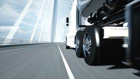 modello 3d dell'autocisterna della benzina, rimorchio, camion sulla strada principale Azionamento molto veloce Animazione realist illustrazione di stock