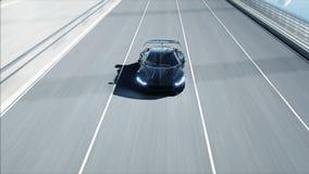 modello 3d dell'automobile futuristica nera sul ponte Azionamento molto veloce Concetto di futuro rappresentazione 3d illustrazione di stock