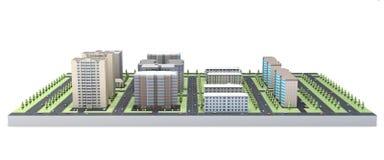 modello 3D delle case isolate su fondo bianco Fotografie Stock