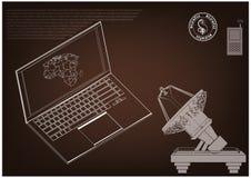 modello 3d di un computer portatile e di un'antenna Immagini Stock Libere da Diritti